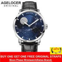 AGELOCER Mondphase Uhr Vintage Schweiz Luxus Marke Herren Uhren Saphir Power Reserve 80 Stunden Mechanische Uhr 6404A1