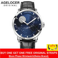 AGELOCER Moonphase Watch Vintage Switzerland Luxury Brand Mens Watches Sapphire Power Reserve 80 Hours Mechanical Watch 6404A1