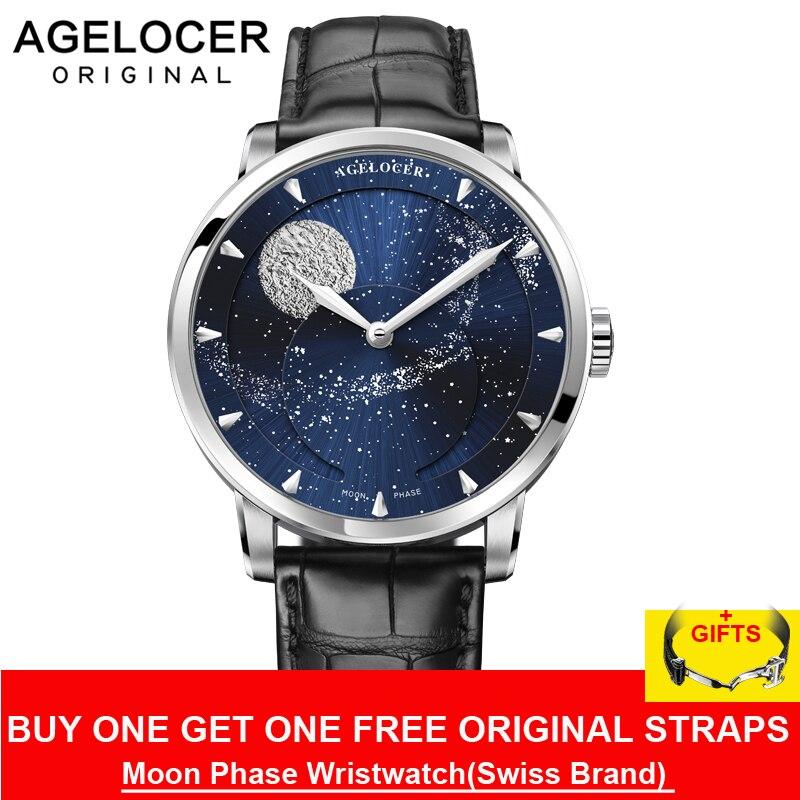 Reloj AGELOCER Moonphase Vintage suiza marca de lujo para hombre relojes zafiro reserva de energía 80 horas reloj mecánico 6404A1
