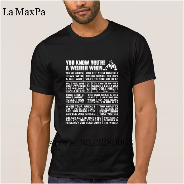 574224d2fb9fb Personalizado t camisa dos homens Autênticos soldador você amarrar as  coisas com um mig fio t