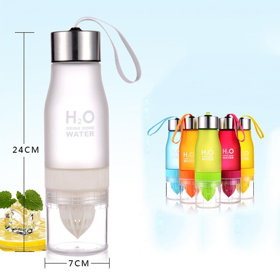 Venta caliente 700 ml botella de agua H20 plástico infusión de fruta infuser bebida deportes al aire libre jugo Lemon agua portátil