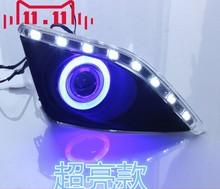 EOsuns COB Angel eye + LED tagfahrlicht DRL + halo Nebelscheinwerfer mit Projektor-objektiv für toyota corolla 2006-09