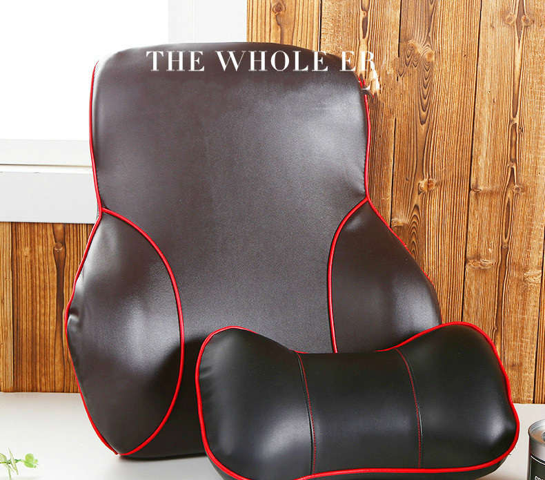 Black PU Skin Slowly Springback Space Memory Cotton Head Pillow Waist Waist Suit Pillow + Waist Pad