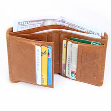 100% Genuine Leather Men Wallet ID/Credit Card Holder Bifold Front Pocket Wallet with RFID Blocking Business Card Holder Purse цены