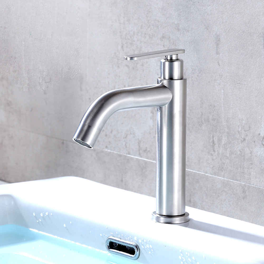 Basin Faucet Deck Mounted Kitchen Single Cold Toilet Wash Stainless Steel Useful Sink Handle Modern Mixer Water Tap Bathroom