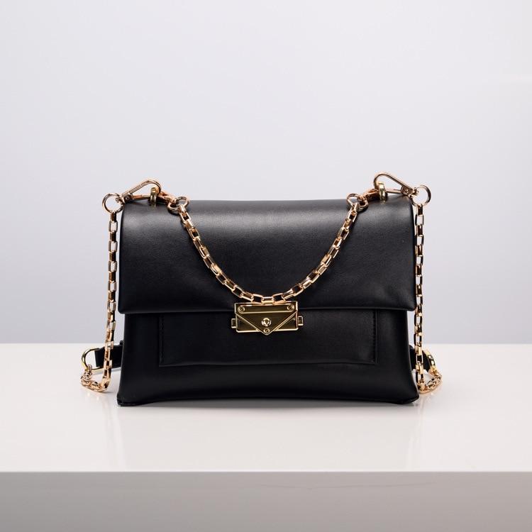 2019 new spring and Summer leather women's bag european style chain handbag fashion shoulder oblique cross bag