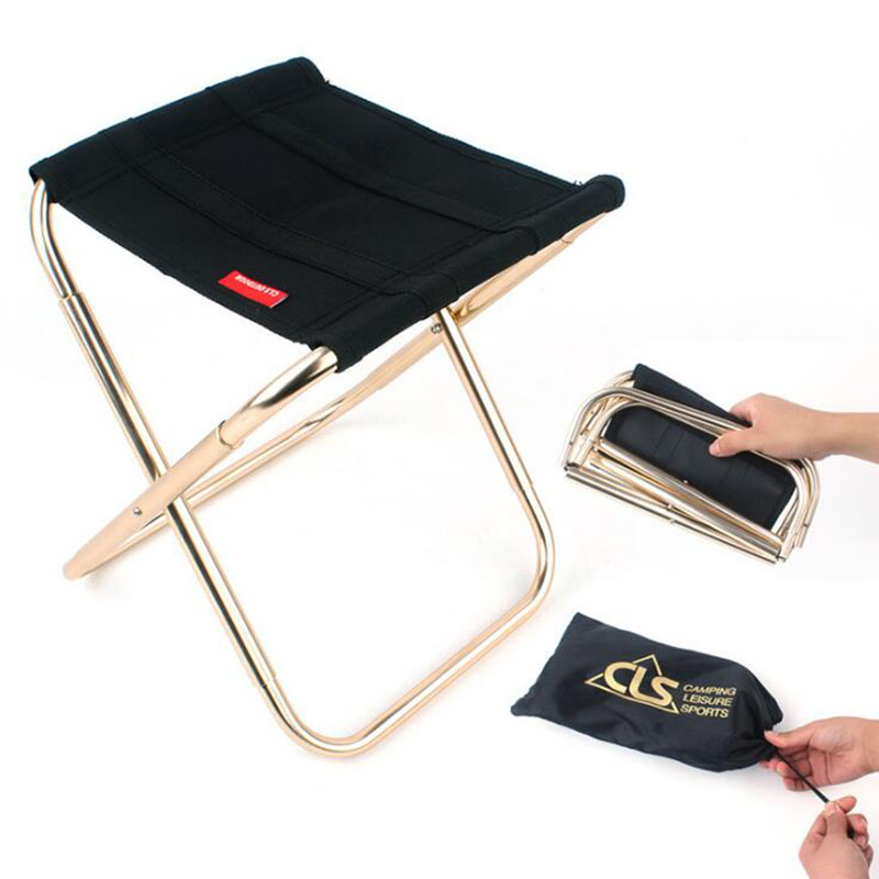 Outdoor Portable Stool Folding Sturdy  Camping Picnic Fishing Oxford Stool Chair -4