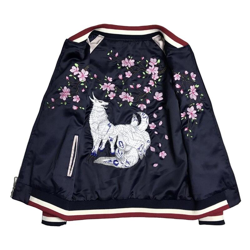 Kadın Giyim'ten Basic Ceketler'de Yeni Çift yan lüks Dokuz kuyruklu tilki nakış MS ceket bahar ve fal erkekler ve wo çiftler beyzbol ceketleri Giyim her iki yan'da  Grup 1