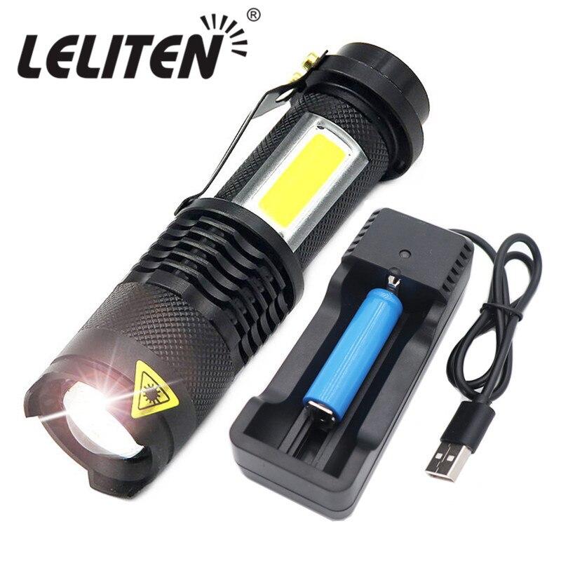 4 modalità di Mini Portatile di Lavoro lampada 3800LM Q5 + COB LED della Torcia Elettrica DELLO ZOOM torchflashlight vita di Illuminazione lanterna Uso AA 14500 batteria