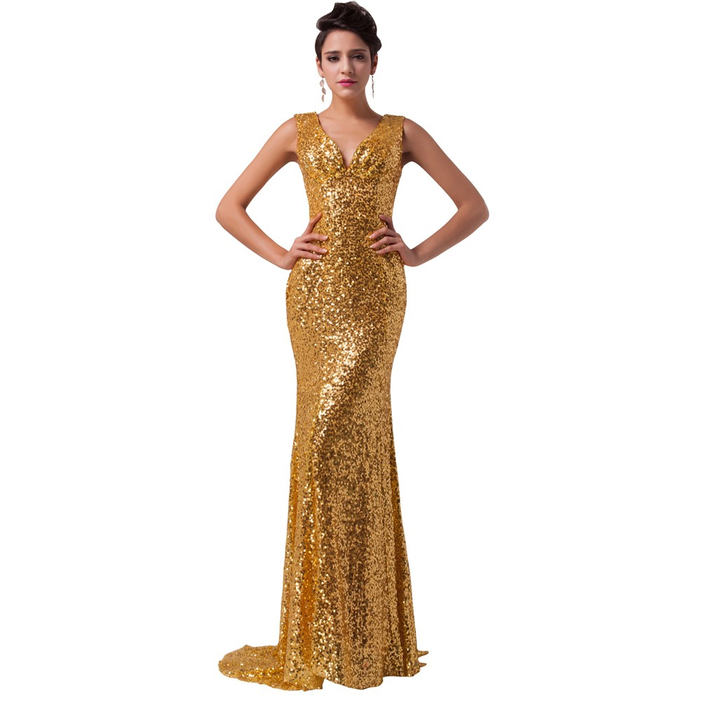 81ee8148 Luxury Grace Karin Evening Dresses Robe De Soiree Long Glitter Sequin  Formal Gowns Party V Neck Golden Mermaid Evening Dresses