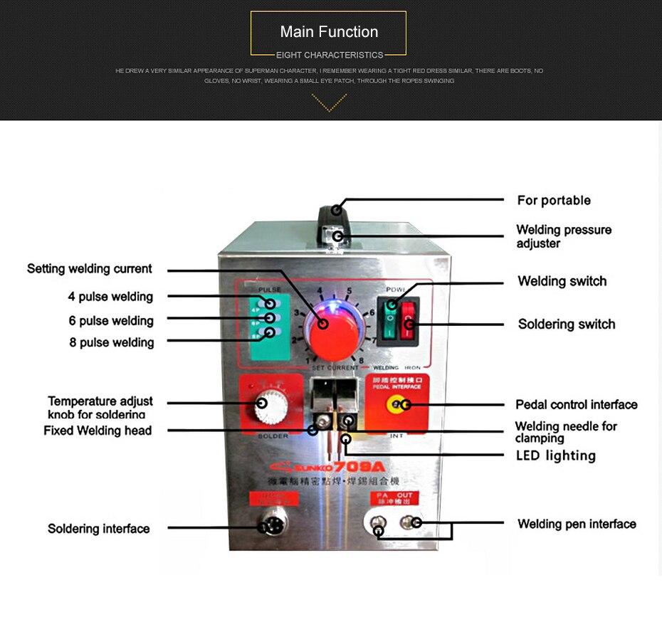Sunkko 709a Pulse Spot Welder 19kw Led Lith Battery Welding Machine Diagram 4