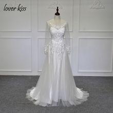 Vestido De Novia 2017 Scoop Long Sleeves Lace A Line Wedding Dress White Vintage Bridal Gown Custom Made Robe De Mariage