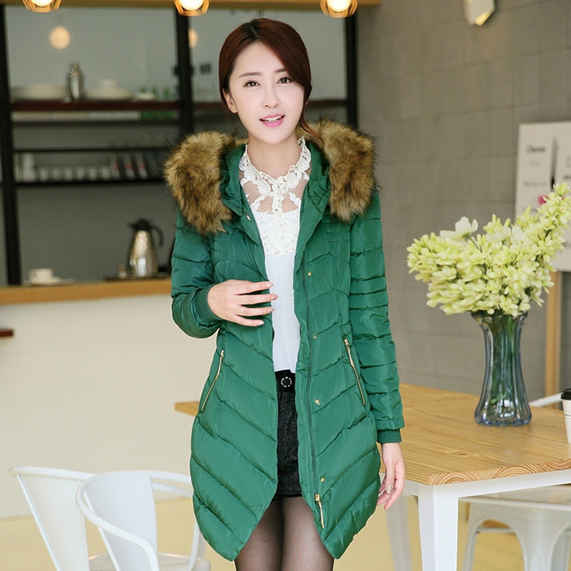 ФОТО European and American fashion 2014 new paragraph heavy hair grows in winter Cultivate one's morality cotton-padded clothes