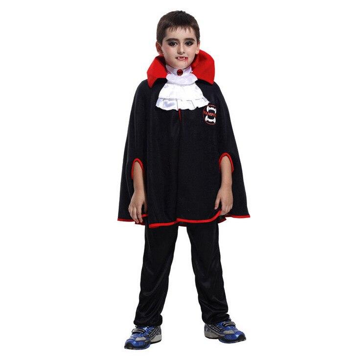 Aantrekkelijke Nieuwe Vampire Zwarte Cape Kinderen Cosplay Kostuum Halloween Preformance Show Party Kostuum Met Das Voor Jongen Kinderen Fijn Vakmanschap