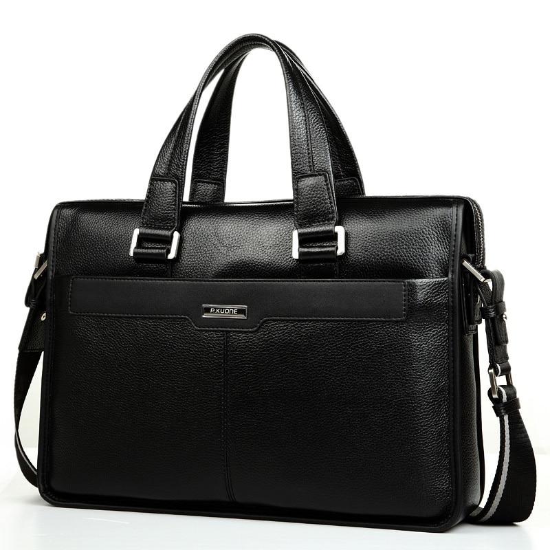 Handbag Men's Casual Genuine Leather Business Bag Briefcase Shoulder Bag Male Cowhide Briefcase Laptop Computer Messenger Bag