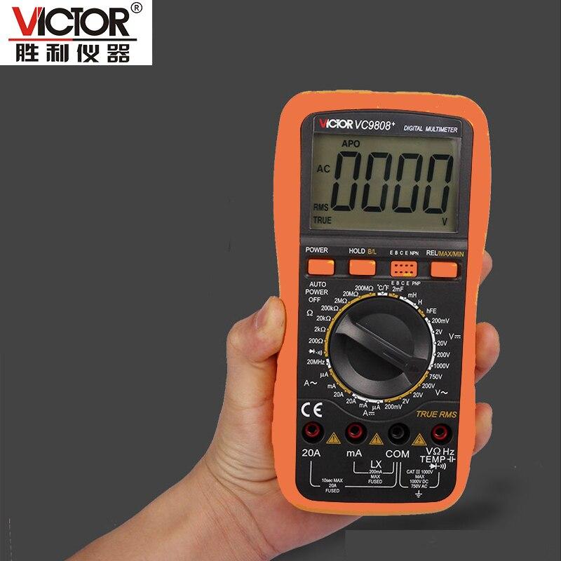 VICTOR VC9808 + 3 1/2 multimètre Numérique Compteur Électrique ampèremètre 20A voltmètre Inductance Fréquence testeur DCV ACV DCA/R/C/L/F