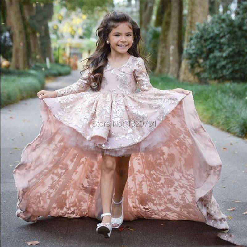 2019 Pretty Pink Lace Flower Girls Dresses Long Sleeves Communion Dresses High Low Pageant Dresses For Little Girls