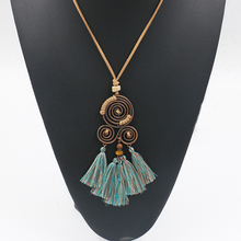 1PC Charm choker Bohemian Ethnic Tassel Pendant Necklace Long Leather Sweater Rope Chain Clothing Jewelry Accessories