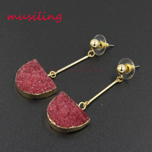 musiling Colorful Druzy Earrings Long Drop Earring Jewelry for Women Natural Crystal Colors Retail 1Pair druzy crystal earring for women 2019 gold metal circle oval natural stone long drop earrings jewelry brincos earing eardrop