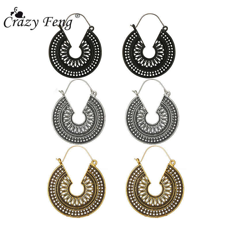 Crazy Feng 2018 Vintage Gypsy Ethnic Drop Earrings Antique Gold Hollow Pattern Tribal Dangle Earrings For Women Indian Jewely