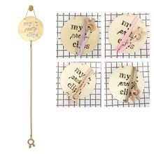 "Simple 1PC Nordic Style Wood Baby Hair Clips Hair Accessories Photo Photos Storage Pendant ""My Pretty Clips"" Hollow Letter(China)"
