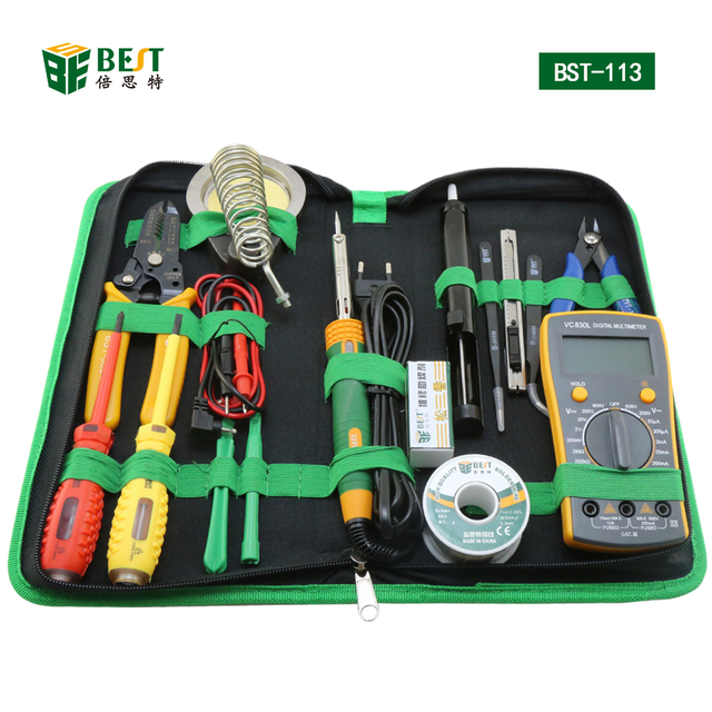 BST-113 Tools box 16 in 1 Household Professional Tools Screwdrivers Soldering Iron Multimeter Tweezers Repair Tool kit Tool box