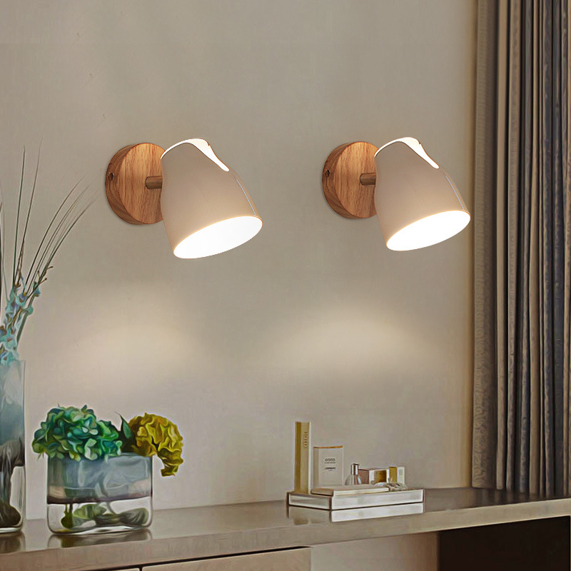 YOOK led wall lamp wood wall lamp bedside reading wall lamp can rotate E27 110V 220V