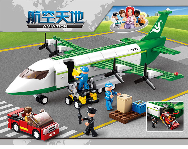 Models Building Toy 0371 Aviation City Aircraft Freighter 383pcs