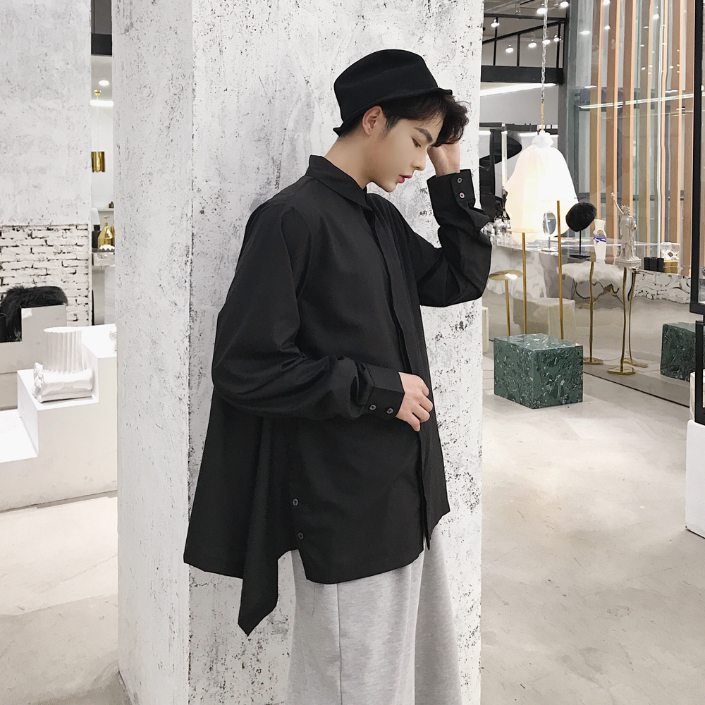 Men Fashion Casual Loose Long Sleeve Shirt Japanese Harajuku Style Male  Women Black White Party Dress Shirts-in Casual Shirts from Men s Clothing  on ... 650269d3cb5c
