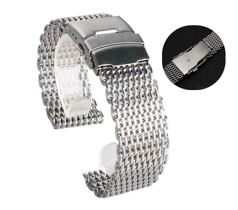 18mm 20mm 22mm 24mm Acero inoxidable milanés tiburón de malla de correa de reloj pulsera de plata para Omega tissot Seiko reloj