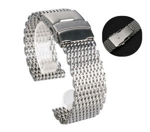 18mm 20mm 22mm 24mm Stainless Steel Milanese Shark Mesh Watch Band Strap Silver Bracelet for Omega Tissot Seiko Watchband(China)