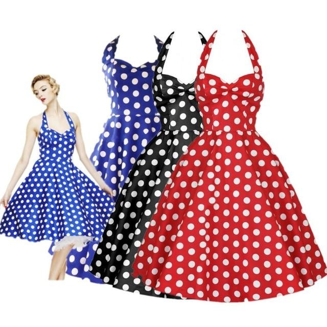 efdb7dd926 Kobiety panie lato Retro lat 50 pin-up sukienka swingowa sukienka 60 s w  stylu Vintage