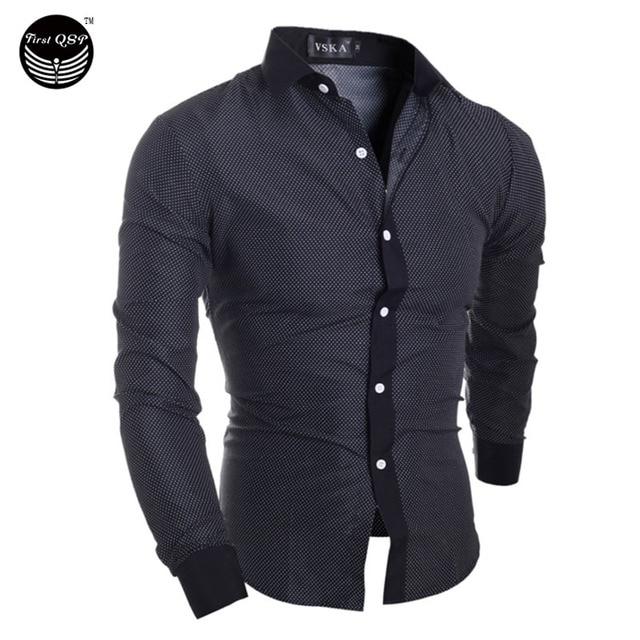 2017 Camisa Dos Homens Moda Masculina Moda Dots Gola Quadrada Fino Longo-Sleeved Camisa Single-Breasted Camisa XXL OUEBHJF