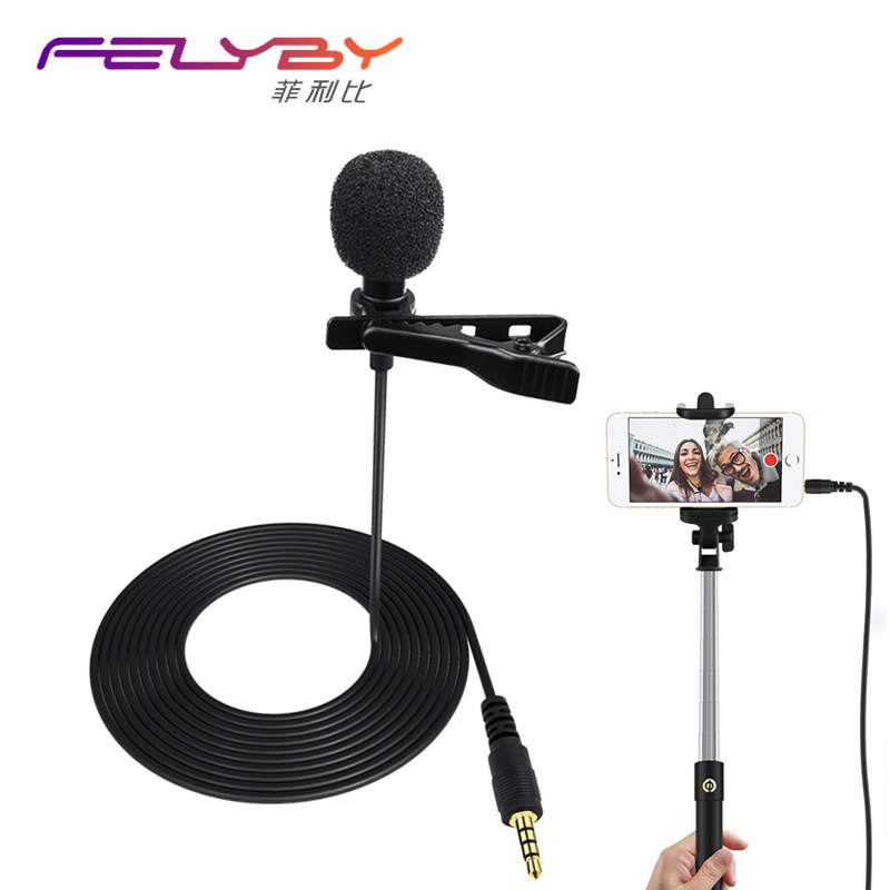 profession Portable Clip-on Lapel Microphone 3.5mm Hands-free Mini Wired Condenser Microphone for IOS for Android phones