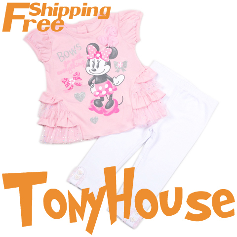 Baby girl's 2013 summer new clothes suit, cartoon Minnie Mouse 2pc sets cotton t-shirt+pants clothing sets free shipping