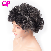 Qp Hair Bouncy Curly High Temperature Fiber hair African American short wigs for Women black sliver grey synthetic wig