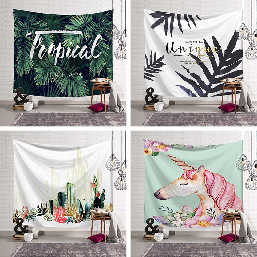 Unicorn Birds Eye Floral Astronauts Tapestries Colorful Psychedelic Indian Tapestry Wall Hanging Printed Decoration 2019 Hot