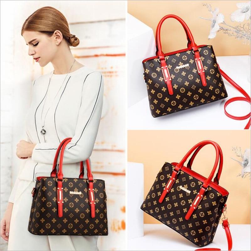 2 pieces / set 2018 new women's fashion shoulder bag handbags Christmas gift retro PU leather handbag 3