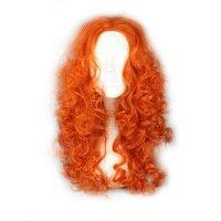 Mcoser 55センチの長さカーリー合成オレンジ色コスプレパーティーウィッグ100%高温繊維毛WIG-342B