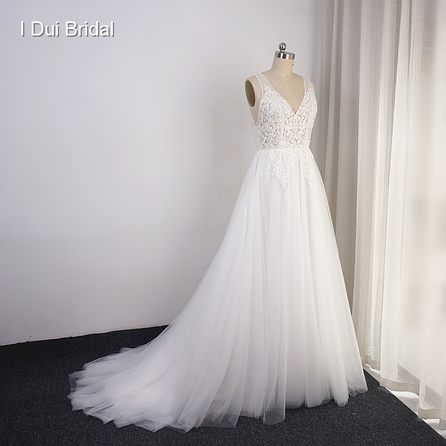 Boho Wedding Dresses Tulle Skirt Real Photo A line Bohemia Beach Bridal Gown Drop Ship