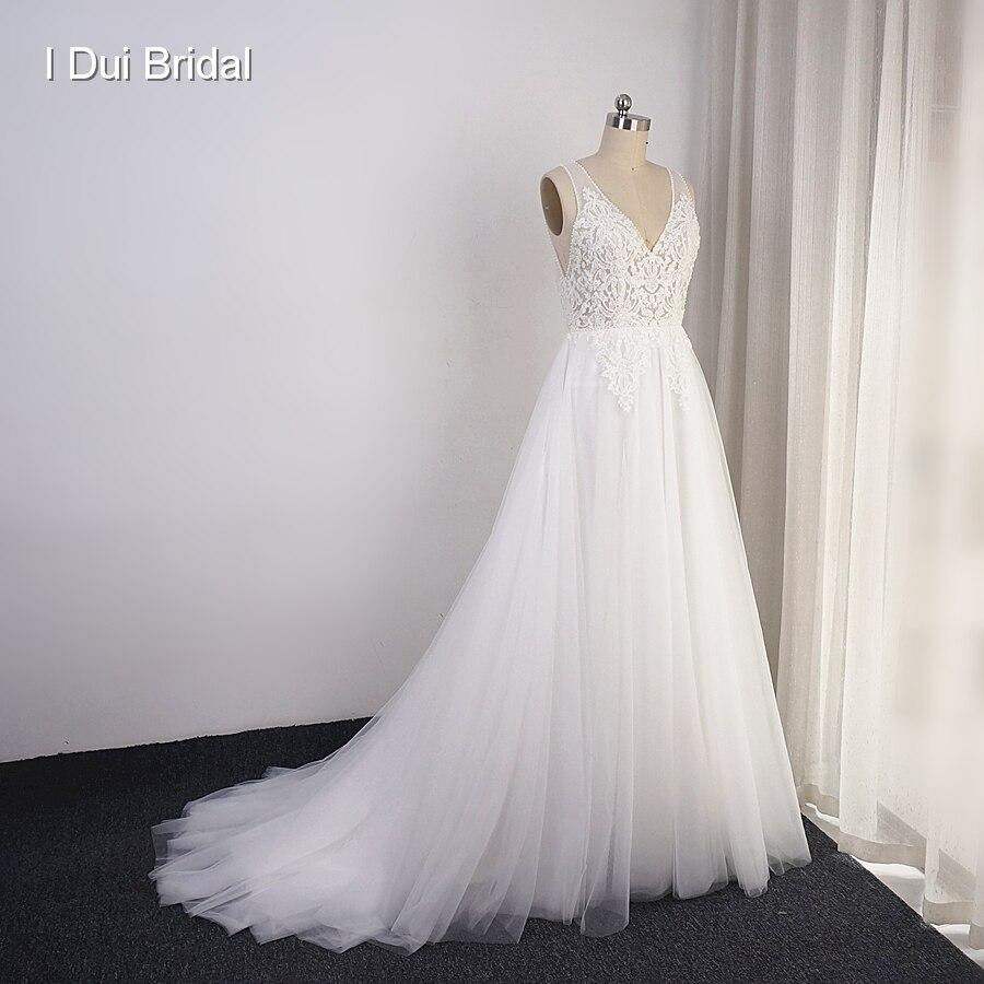 Boho robes de mariée jupe en Tulle Photo réelle une ligne bohême plage robe de mariée livraison directe