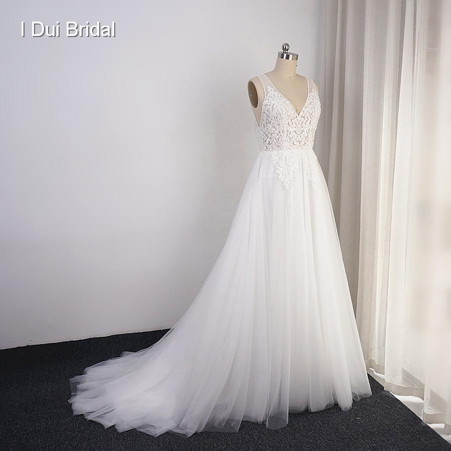 Boho vestidos de casamento tule saia foto real uma linha bohemia praia vestido de noiva navio da gota