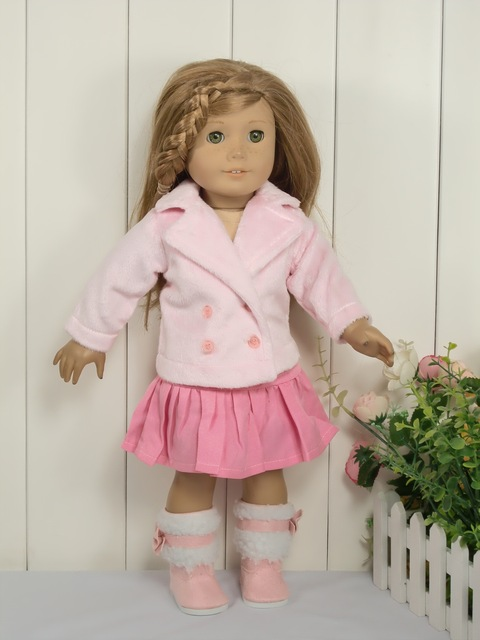 Cute Pink Dress Suit For 18 Inch American Girl Doll 45cm Doll Accessories