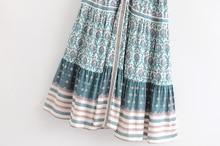 Boho long dress 2019 rayon green floral print sexy v-neck short sleeve beach wear summer dress chic women dress vestido