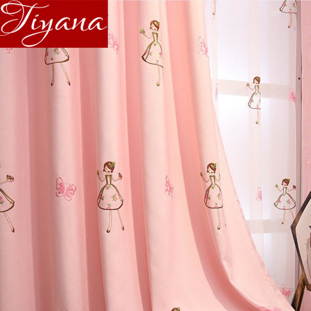 Little Girls Curtains Pink Embroidered Voile Kids Room Window ...