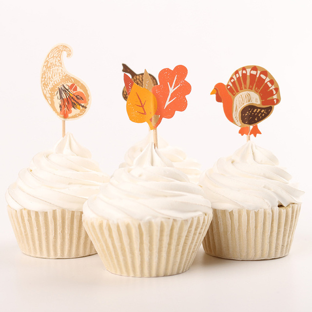 Thanksgiving Day Party Supplies 24pcs Cartoon Turkey Cupcake Toppers Pick Party Decorations