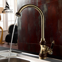 Kitchen Faucets Brass with Marble Mixer Kitchen Crane Single Handle Gold Swivel 360 Degree Water Mixer Tap Kitchen Tap Sink U-01