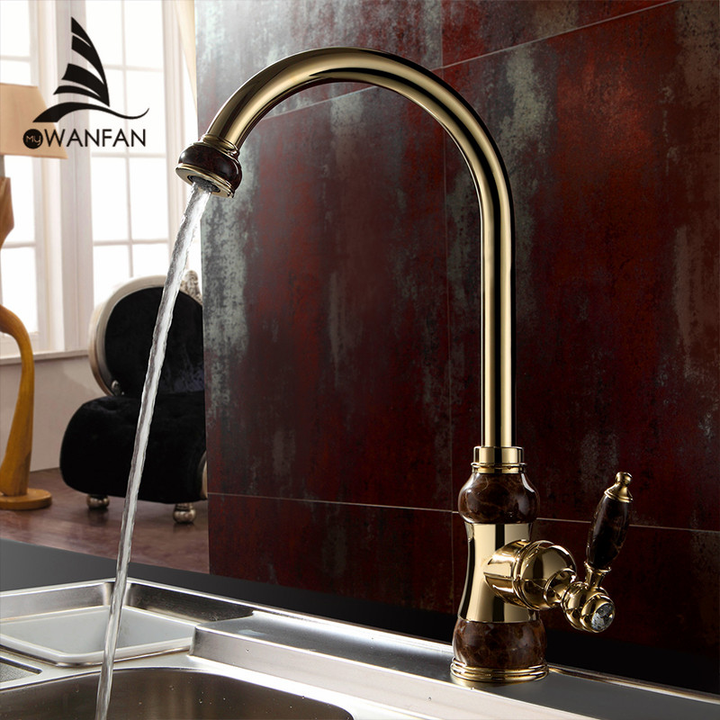 ФОТО Free Shipping Brass torneira cozinha with Marble kitchen faucet/single handle Gold finish basin sink mixers taps U-01