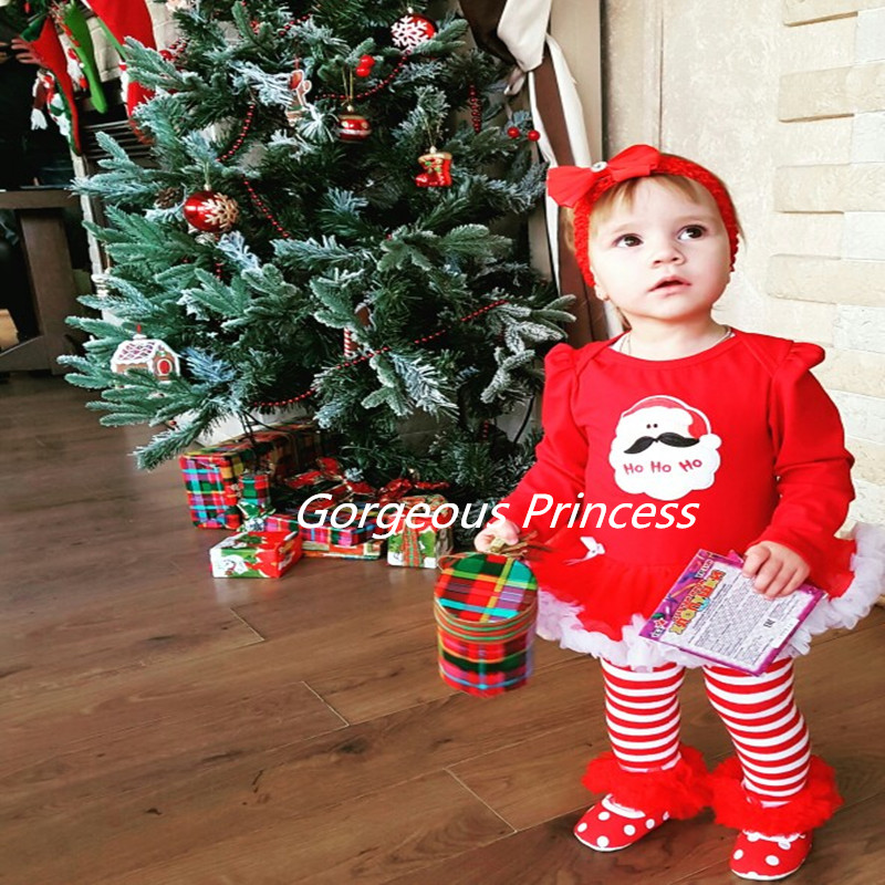 2017 baby girl Christmas outfit photo shoot outfits Birthday Girls Dress Cute Kid Clothing Tutu dress Long Sleeve romper set