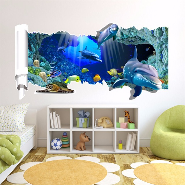 Yanqiao Dolphin Whale Shark 3D Wall Sticker Home Decoration Kids Room  Bedroom Nursery Decor